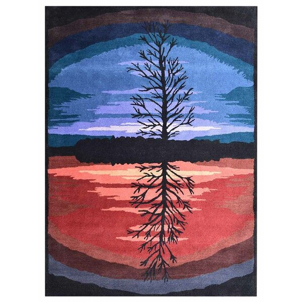 St Catherine Hand-Tufted Wool Blue/Orange Area Rug by Millwood Pines
