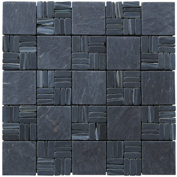 Landscape Wonder Alternate 2 x 2 Natural Stone Mosaic Tile in Black Slate by Intrend Tile