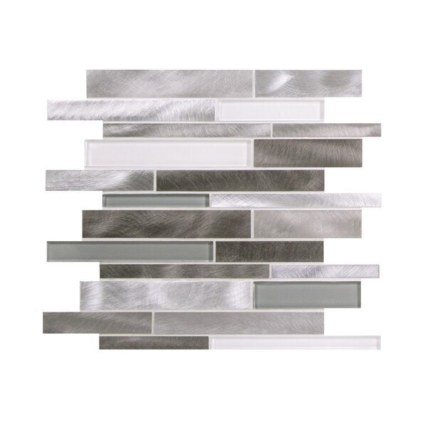 Twilight Random Sized Aluminum/Glass Tile in Gray/White by WS Tiles