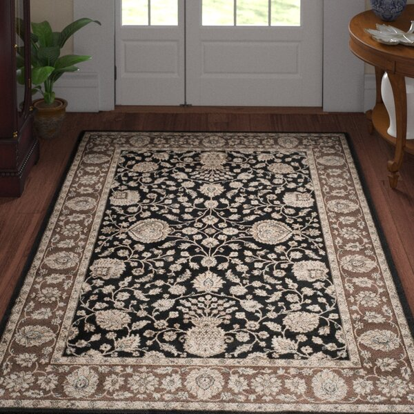 Bedford Black/Red Area Rug by Three Posts