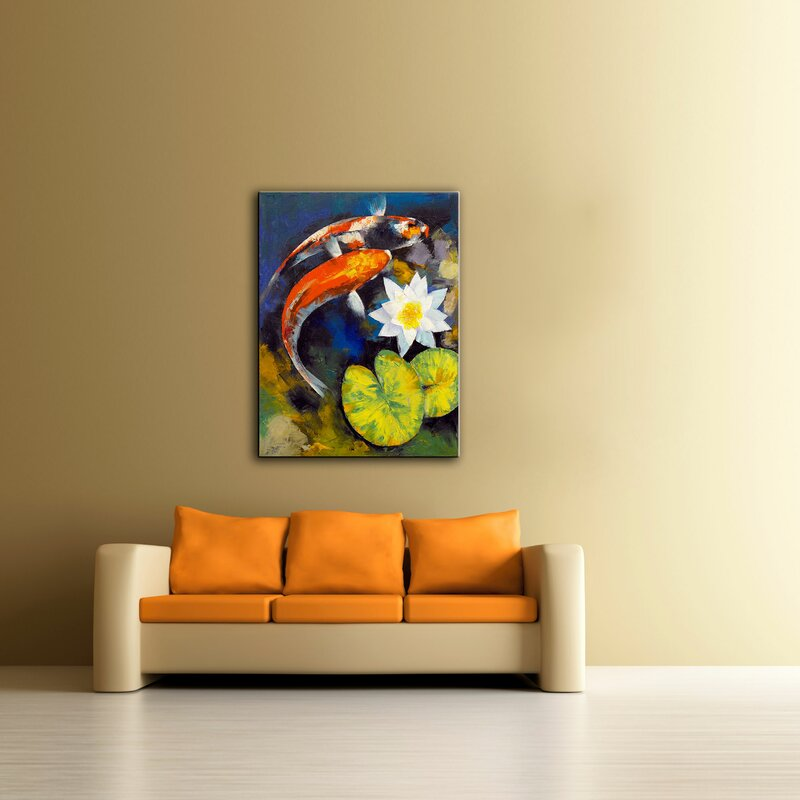 ArtWall \'Koi Fish and Water Lily\' by Michael Creese Painting Print ...