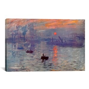'Sunrise Impression' by Claude Monet Painting Print on Canvas by Three Posts