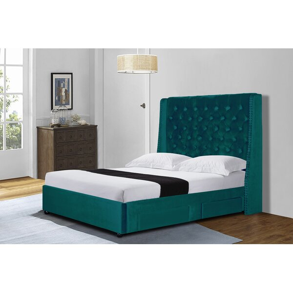 Kayson Velvet Queen Upholstered Storage Platform Bed by Rosdorf Park