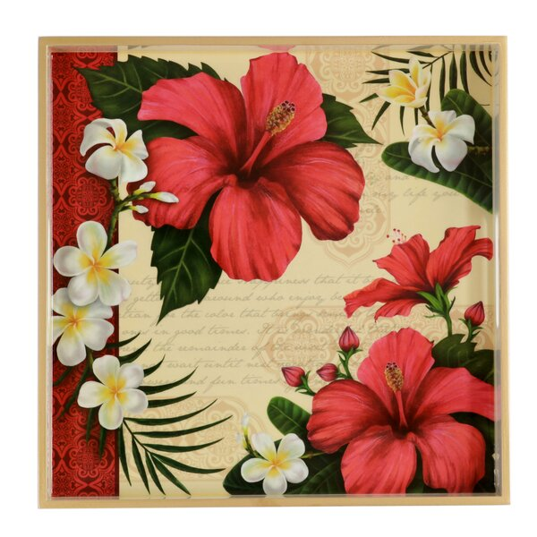 Hibiscus Blossom Square Wooden Tray by TSC Giftables