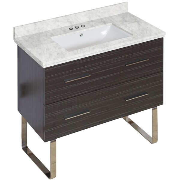 Phoebe Marble Top Drilling Floor Mount 36 Single Bathroom Vanity Set by Orren Ellis
