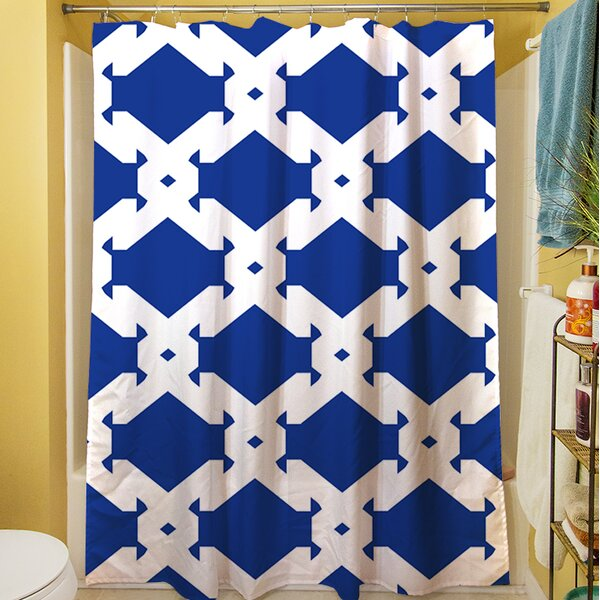 Modern Geometric Sapphire Shower Curtain by Manual Woodworkers & Weavers