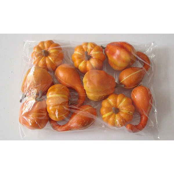 12 Piece Faux Gourd and Pumpkins Autumn Thanksgiving Home Décor Set by The Holiday Aisle