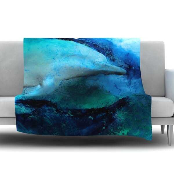 Dolphin by Josh Serafin Fleece Blanket by East Urban Home