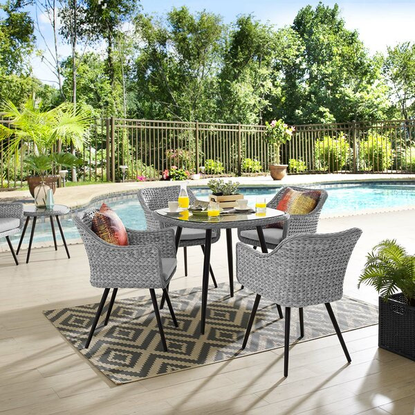 Thayne 5 Piece Dining Set with Cushions by Ivy Bronx
