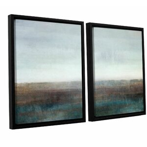 Landscape Ground Fog 2 Piece Framed Painting Print Set by Latitude Run