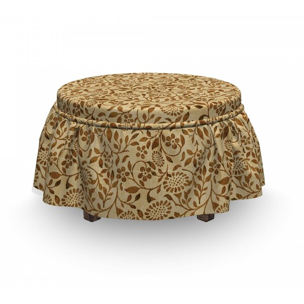 Worn Out Curled Stems Ottoman Slipcover (Set Of 2) By East Urban Home