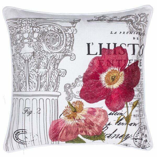 Royal Gardens Embroidered Cotton Throw Pillow by 14 Karat Home Inc.