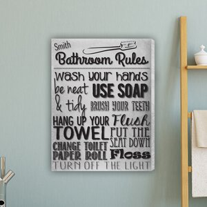 Bathroom Rules Textual Art on Canvas in White by JDS Personalized Gifts