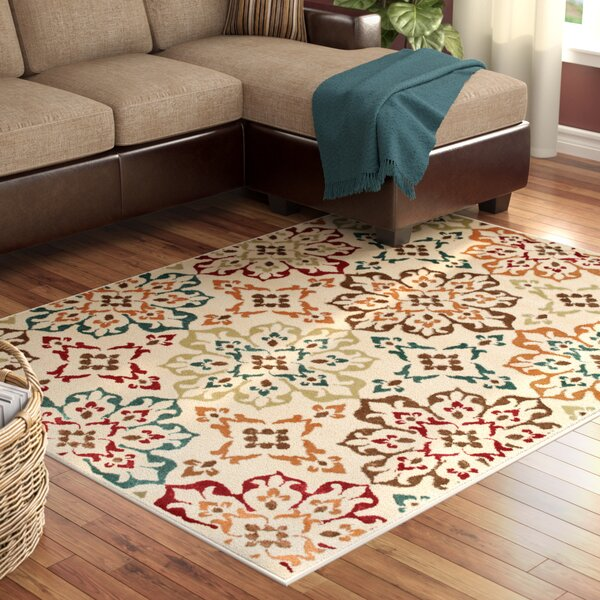 Kleinman all Over Floral Medallion Ivory Area Rug by Winston Porter