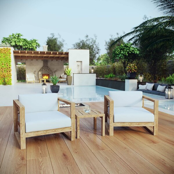 Bartz 3 Piece Teak Sofa Set with Cushions by Foundry Select