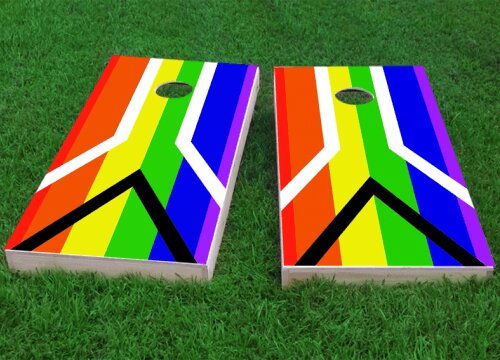 Gay Pride Rainbow Flag with Peace Sign Cornhole Game (Set of 2) by Custom Cornhole Boards