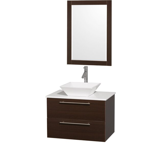 Amare 30 Single Espresso Bathroom Vanity Set with Mirror by Wyndham Collection