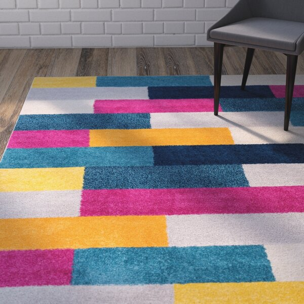 Mystic Tribeca Modern Geometric Blocks Pink/Yellow Area Rug by Wrought Studio