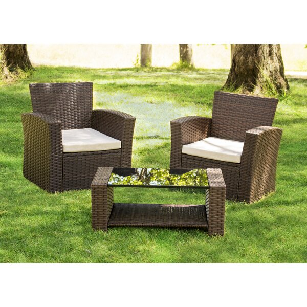 Hope 3 Piece Rattan Conversation Set with Cushions by Ivy Bronx