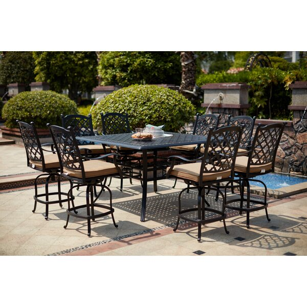 Millner 9 Piece Bar Height Dining Set with Cushions by Canora Grey