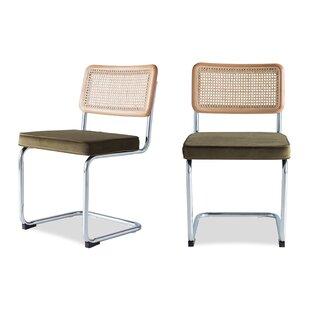 Elkmont Cane and Velvet Upholstered Dining Chair (Set of 2)