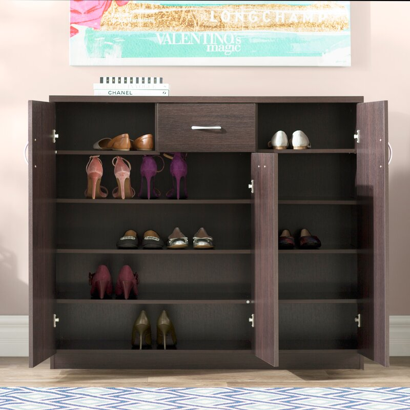 Wood 30-Pair Shoe Storage Cabinet & Willa Arlo Interiors Wood 30-Pair Shoe Storage Cabinet u0026 Reviews ...