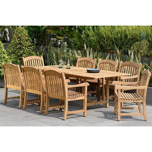 Lucien Extendable 9 Piece Teak Dining Set by Longshore Tides