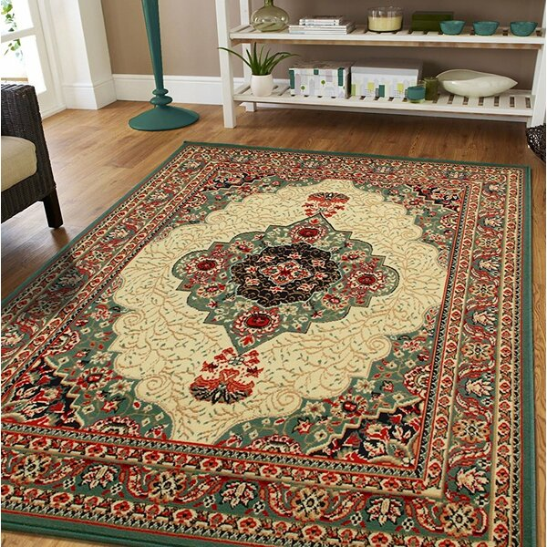 Premo Oriental Green/Beige Indoor/Outdoor Area Rug by Bloomsbury Market