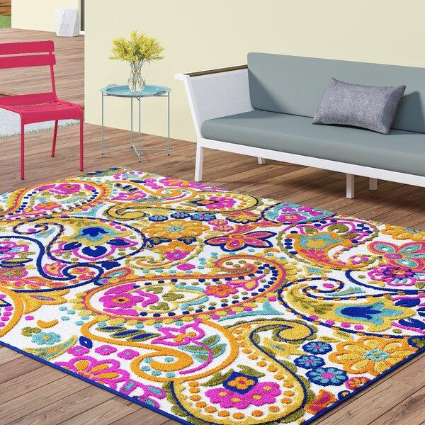 Dorinda Yellow/Pink Indoor/Outdoor Area Rug by Ebern Designs