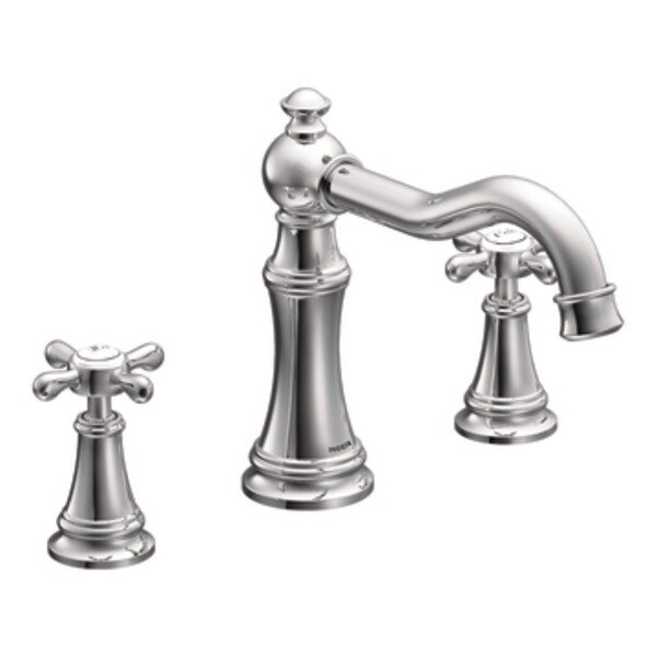 Weymouth Two Handle High Arc Roman Tub Faucet with Cross Handles by Moen