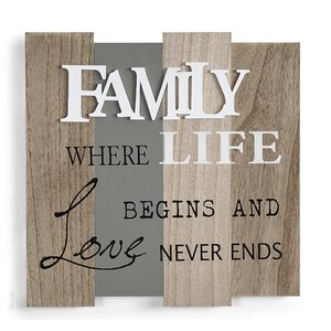 'Family - Where Life Begins and Love Never Ends' Textual Art on Wood by Winston Porter