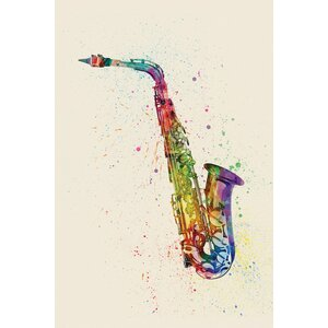 Musical Instrument Series: Saxophone Graphic Art on Wrapped Canvas by East Urban Home