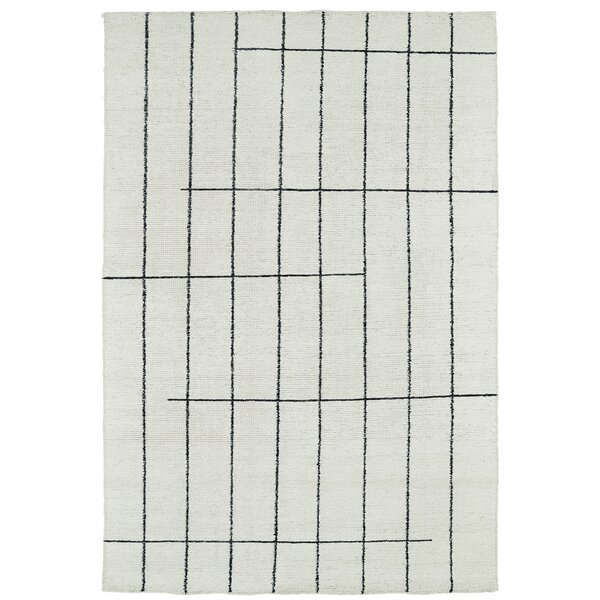 Aracely Hand Woven Ivory/Charcoal Area Rug by Mercury Row