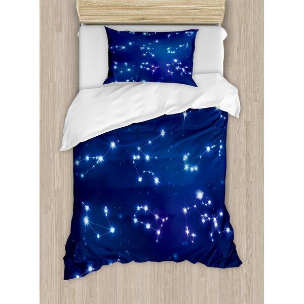 Constellation Realistic Celestial Gemini Leo Pisces Sagittarius Galactic Duvet Set by Ambesonne