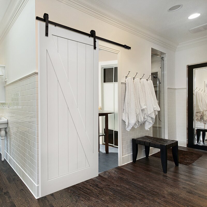 Single Stile And Rail Z Planked MDF 2 Panel Interior Barn Door With Hardware