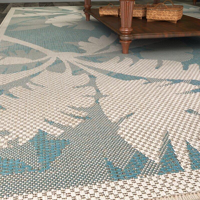 Beachcrest Home Odilia Coastal Flora Ivory/Turquoise Indoor ...