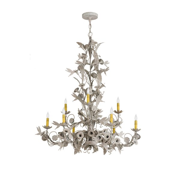 Epstein 9 - Light Candle Style Wagon Wheel Chandelier By One Allium Way