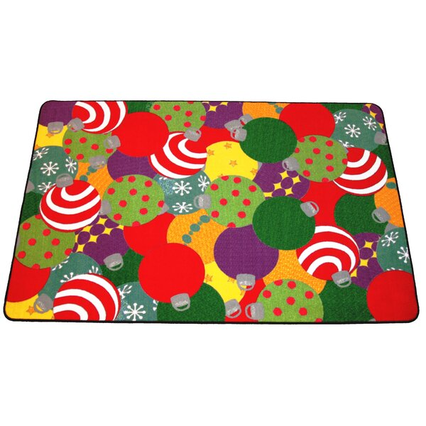Euart Ornaments Christmas Red/Green/Yellow Area Rug by The Holiday Aisle