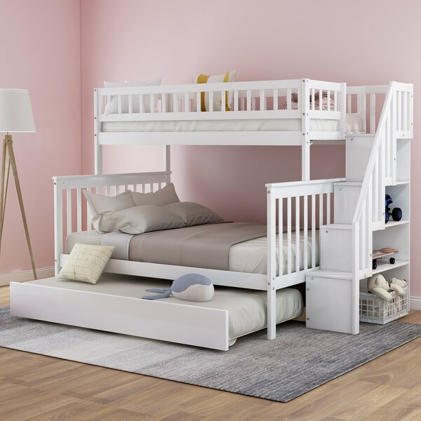 Hazzard Stairway Twin Over Full Bunk Bed With Trundle By Harriet Bee by Harriet Bee 2020 Sale