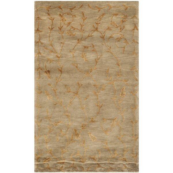 Claussen Tibetan Hand Knotted Silk/Wool Green/Gold Area Rug by Fleur De Lis Living