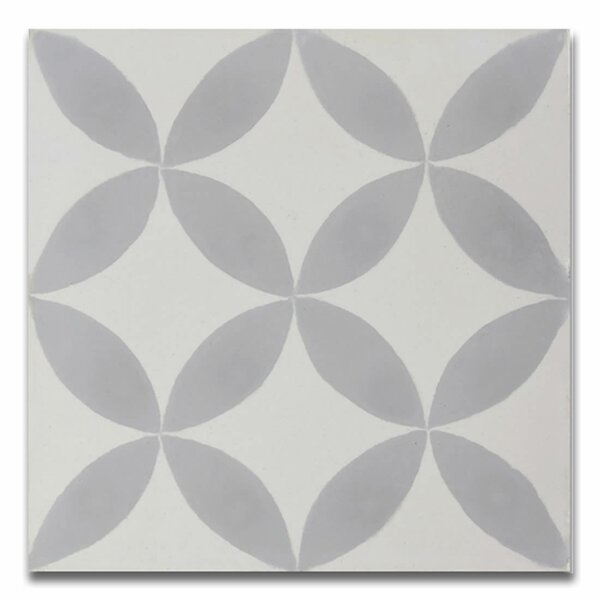 Amlo 8 x 8 Handmade Cement Tile in White/Gray by Moroccan Mosaic
