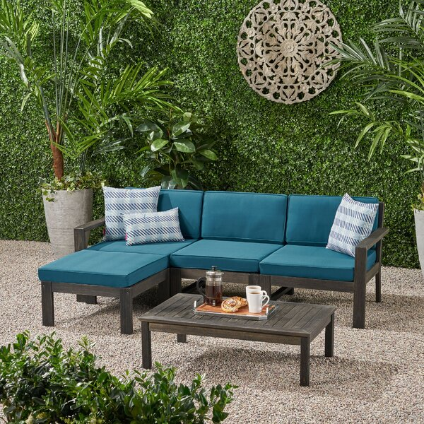 Nara 5 Piece Sectional Seating Group Longshore Tides W002380485