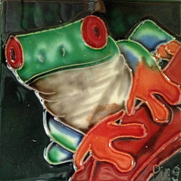 Green Frog on A Red Stem Tile Wall Decor by Continental Art Center
