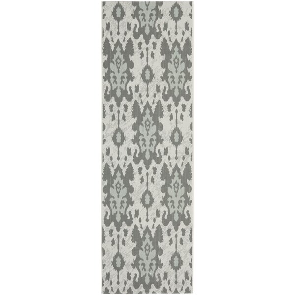 Amedee Light Grey Anthracite/Aqua Weft Outdoor Rug by Bungalow Rose