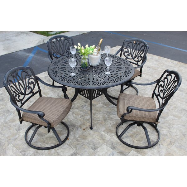 Waynesville 5 Piece Dining Set with Cushions by Fleur De Lis Living