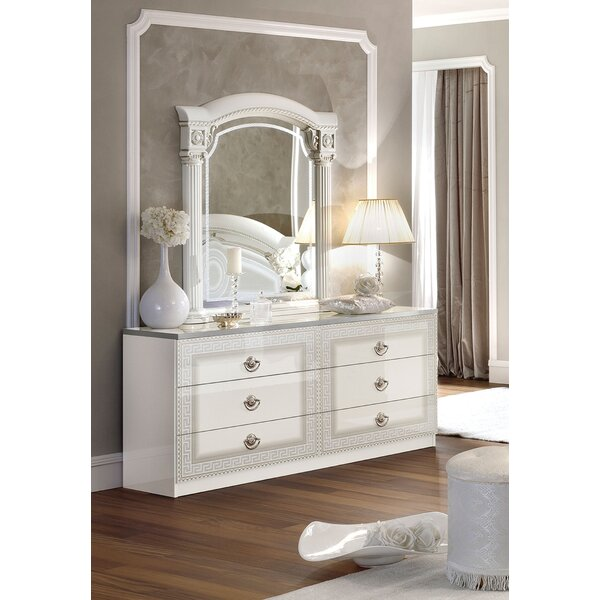Stirling 6 Drawer Double Dresser with Mirror by Astoria Grand