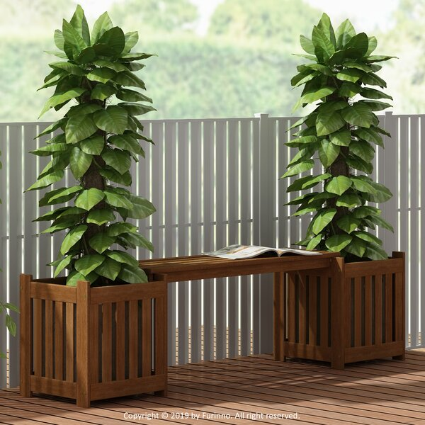 Daquan Tioman Outdoor Lifestyle Wooden Planter Bench by Rosalind Wheeler Rosalind Wheeler