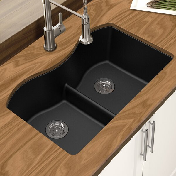 Granite Quartz 31 L x 18 W Double Bowl Undermount Kitchen Sink by Winpro