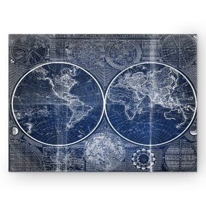 'Vintage World Map II' Graphic Art Print on Wrapped Canvas in Blue by Wexford Home
