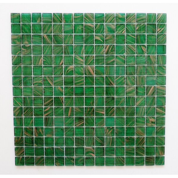 Amsterdam 0.78 x 0.78 Glass Mosaic Tile in Meadow Green Gold Dust by The Mosaic Factory